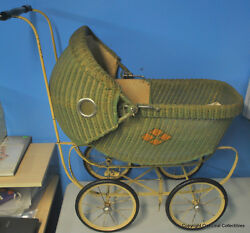 Vintage Baby Doll Carriage Stroller Buggy Cloth And Wicker. With Bedding And Pillow
