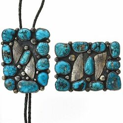 Vintage Old Pawn Bisbee Turquoise Bolo Buckle Set Navajo Sterling Silver C1940s