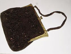 Antique Walborg Richere Bronze Glass Micro Seed Beaded Purse Clutch Silk Lined