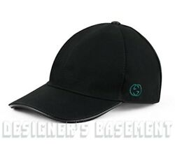 GUCCI black S cotton Canvas INTERLOCKING G embroidery Baseball Hat NWT Authentic