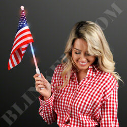 4TH OF JULY FLAGS With Light Up Flagpole *SO FUN* - Choose Your Quantity