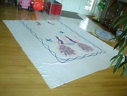 Vintage Chenille Peacock Bedspread Pink Blue 1950's Era Cutter For Crafting Ani