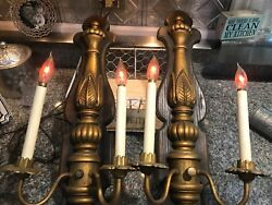Beautiful Sconces Vintage Antique Wired Pair Electric Flickering Candles Leviton
