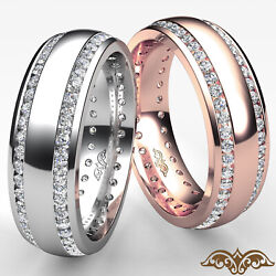 1.1ct Dome 2 Row Round Diamond Eternity Menand039s Wedding Band In 14k White Gold