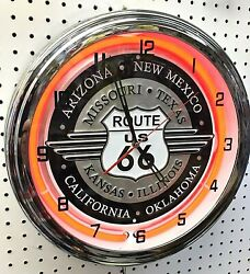 16 Route 66 Historic States Sign Neon Wall Clock