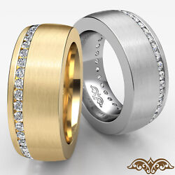 1ct. Offset Channel Round Diamond Menand039s Eternity Comfort Fit Dome Wedding Band