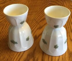2 Vintage ADDERLY Chelsea Ware RARE GREEN & White Bone China Double EGG CUPS