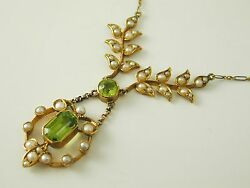 Art Nouveau Peridot And Pearl Necklace 15ct Gold And Platinum Chain 16 Long