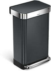 simplehuman 45L Rectangular Step Trash Can, Black Stainless Steel , with 60 fit