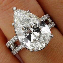 HUGE GIA 7.52CT VINTAGE PEAR SHAPE DIAMOND ENGAGEMENT WEDDING PLATINUM PAVE RING