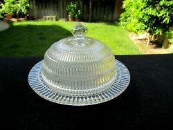 Hazel-atlas Crystal Clear Beehive Butter Dish With Cover 6