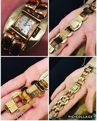 SPECTACULAR RETRO TOURNEAU WOMEN'S WATCH IN SOLID 14K YELLOW & ROSE GOLD! MARKED