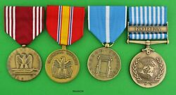Korean War 4 Service Medal Set - Us Army Or Air Force - New Full Size Usa Made
