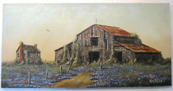 Ken Fleisch Oil Painting Abandoned Barn And Bluebonnets Rare 1970andrsquos Early Works