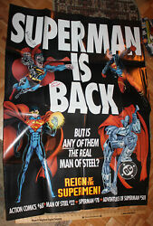 1993 Superman Is Back Reign Of The Supermen Promotional Poster Signed X4 Artist
