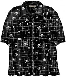 David Carey Barbwire Skull Camp Goth Biker Metal Punk Button Down Shirt 41709