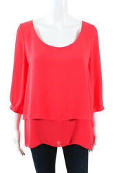 Paper Crown Womens Coral Tiered Scoop Neck Blouse Orange Size Large 11220580