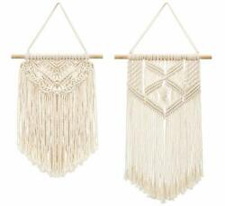 2 Pcs Macrame Wall Hanging Woven Tapestry Home Decor Apartment Dorm Room