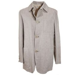 Nwt 5450 Kiton Oatmeal Beige Woven Linen Casual Outer Jacket L Modern-fit
