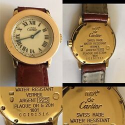 Must De Vintage 24ct Gold Over Sterling Solid Silver Rare Ladies Watch