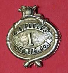 Antique Firefighter Fire Dept A.e. Phelps New York N.y. Vtg Early Obsolete Badge