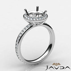 0.60 Ct. Diamond Eternity Shank Engagement Ring Halo Pave Setting Semi Mount