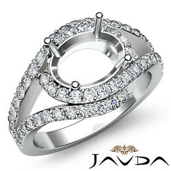 0.63ct. Diamond Micro Pave Setting Engagement Oval Semi Mount Ring Curve Shank