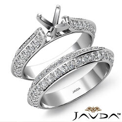1ct. Pave Diamond Engagement Ring Round Semi Mount Cathedral Bridal Sets