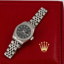 Rolex Oyster Perpetual Lady Date 69240 26mm Black Dial With Stainless Steel Jubi