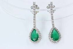 3.5 Carat Tw Emerald Pear And .88 Ct Diamond Halo Drop Earrings In 14k White Gold