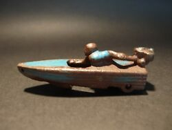 Antique Vintage Style Mini Cast Iron Blue Boat Racer Pull Toy