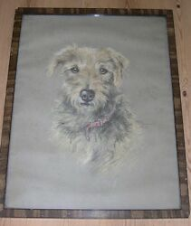 VERY LARGE RARE ANTIQUE IRISH TERRIER DOG PAINTING 1929 BY SIDNEY LANGDON