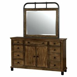 Furniture of America Maxwell Industrial 9 Drawer Dresser and Mirror Set