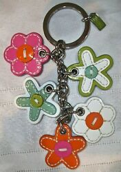 Coach Leather Multi Charm Daisy Flowers Floral Mix Keychain 92081 Rare