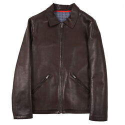 Nwt 3995 Isaia Wool-lined Brown Lambskin Leather Bomber Jacket M Eu 50