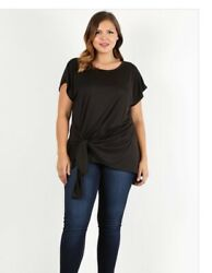 NWT Boutique Designer Plus Waist Length Short Sleeves Wrap Top Black Relaxed Fit $42.99