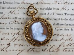 Incredible Antique Ch. Oudin 18k Carved Cameo Pocket Watch Hand Pierced Flawless