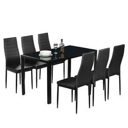 New Modern Black Rectangular Table And Black Chairs 7 Piece Dining Room Set