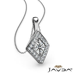0.44ctw Halo Round Real Diamond Kite Style Micro Pave Pendant 18 Inch Rolo Chain
