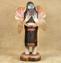 Navajo/hopi Wendell Yazzie Silas, Vintage 12 Butterfly Maiden Kachina Doll C80s