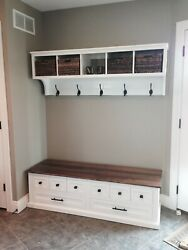 Entryway Cubby And Bench, Wall Storage Cubical With Matching Bench, Hallway Coat