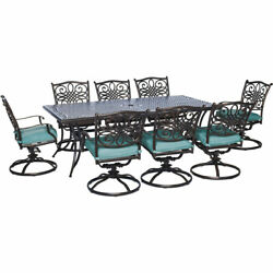 Hanover TRAD9PCSW8 Blue Traditions Nine Piece Square Aluminum Framed Outdoor