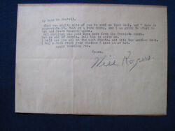Original Tls - Signed By Will Rogers Referencing Ed Borein Tecolote Ranch Etc.