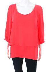 Paper Crown Womens Coral Tiered Top Blouse Shirt Pink Size Large 11222920
