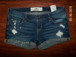 HOLLISTER BRAND JEAN SHORTS SZ 1 FACTORY DISTRESSED PERFECT !!! CUTE !!!!