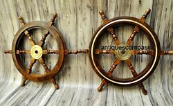 Nautical 24 Ship Wheel Decor Steering Boat Brass And Wooden Replica Set Of 2 Pcs