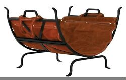 Uniflame Black Wrought Iron Log Holder With Leather Carrier W-1018 Log Holder