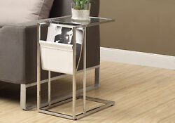 Monarch Specialities Accent Table - White / Chrome Metal With A Magazine Rack