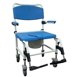 Aluminum Blue And White Bariatric Aluminum Rehab Shower Commode Chair Nrs185008