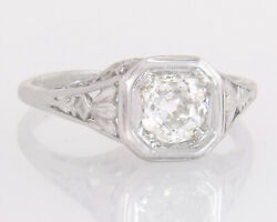 Antique Egl Certified .82ct Old Mine Cut Diamond 18k White Gold Engagement Ring
